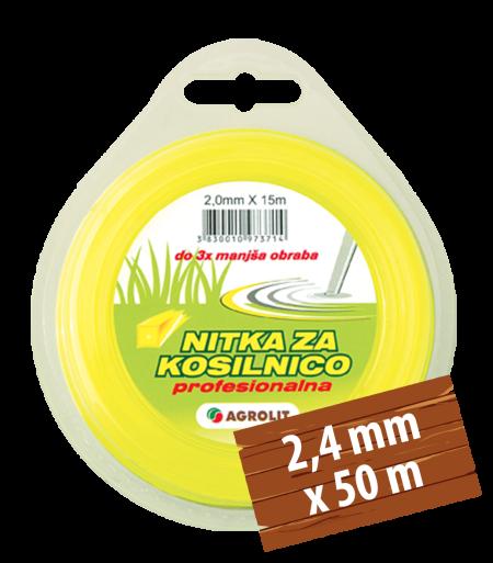 NITKA ZA KOSILNICE 2,4 MM X 50 M(PRO)- KVADRAT - AGROLIT
