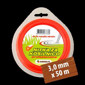 NITKA ZA KOSILNICE 3,0 MM X 50 M(PRO)- OKROGLA - AGROLIT